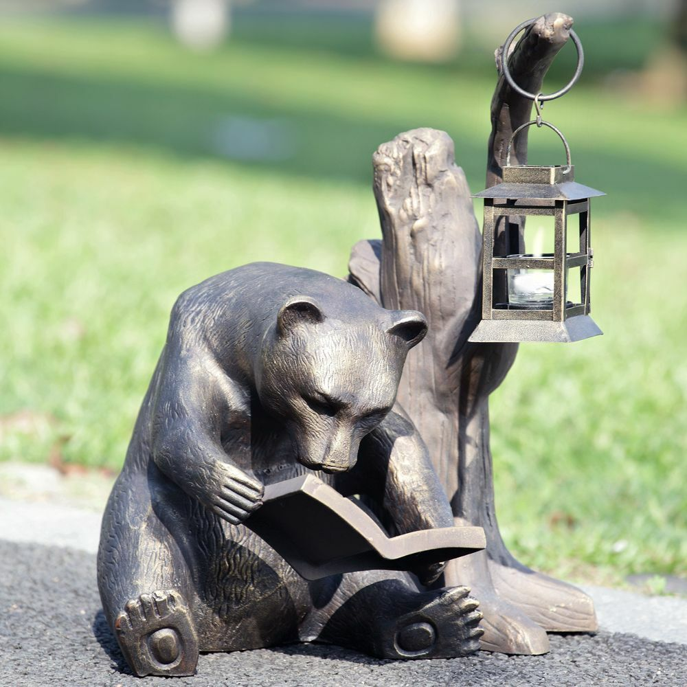 Bear Booklover Reading Lantern Garden Statue Candle Holder Cabin Lodge Rustic