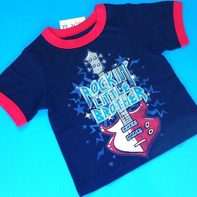 "*NEW* ""Rockin' Little Brother"" Baby Boys Shirt 9-12 18-24 Months 4T Blue Gift!"