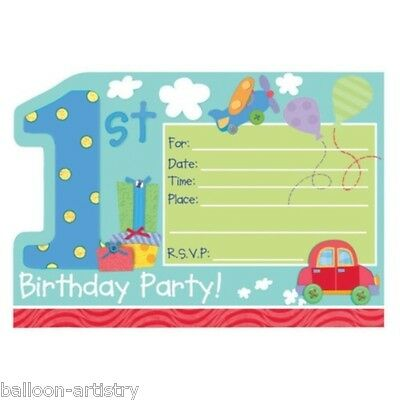 8 Happy 1st Special Boy Birthday Party Invitations plus Envelopes