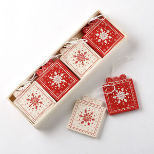 Traditional-Vintage-Style-Red-Cream-Wooden-Christmas-Present-Tree-Decorations