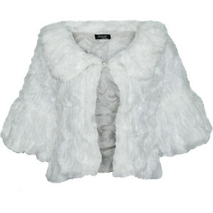 LADIES SOFT FAUX FUR SHRUG WOMANS BRIDAL EVENING BOLERO PARTY JACKET UK SZ 8-18