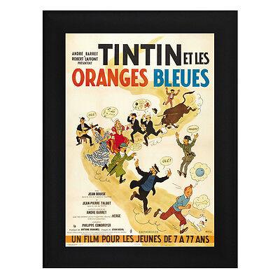 TINTIN Oranges Bleues Framed Film Movie Poster A4 Black Frame Tin Tin