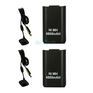 2 x 4800mAH Battery Pack + Charger Cable for XBOX 360 Black UK