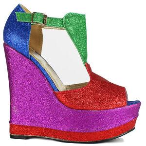 Ladies-Womens-Sexy-Glitter-High-Heel-Platform-Wedge-Peeptoe-Party-Sandals-Shoes