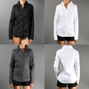 Career-Skinny-Fit-Button-Down-LONG-SLEEVE-BLOUSE-Basic-Stretch-Slim-Shirt-sz-SML
