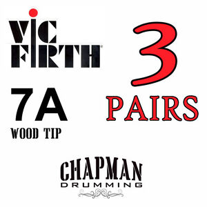 3X QUALITY Vic Firth 7A Drumsticks Drum Sticks Wood Tip Hickory American Classic
