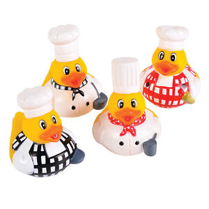 SET-OF-FOUR-CHEF-COOK-RUBBER-DUCK-DUCKIES-NOVELTY-TOY-BATH-TOY-COLLECTABLE