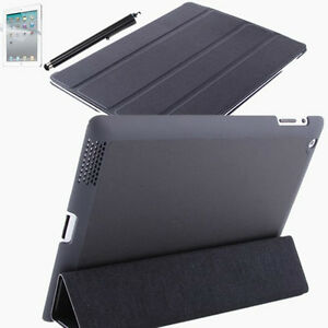 For New iPad 3/4th Smart Cover Slim PU Leather Hard Case Wake Sleep Stand Black