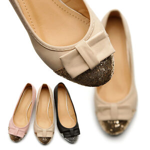 New-Womens-Shoes-Ballet-Flat-Loafers-Low-Heels-Cute-Comfort-Ribbon-Accent