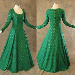 Medieval-Renaissance-Gown-Green-Gold-Dress-Costume-LOTR-Wedding-Wicca-4X
