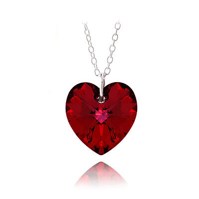 925 Silver Ruby Red Swarovski Elements Heart Necklace, 18