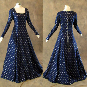 Medieval-Renaissance-Gown-Navy-Silver-Fleur-De-Lis-Dress-Costume-LOTR-Wedding-4X