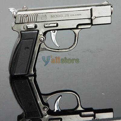 Stylish Pistol Gun Shape Refillable Butane Cigarette Lighter Black on Rummage