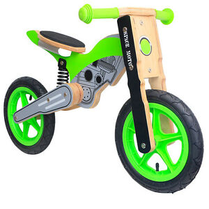 Brand-New-Wooden-Kids-Balance-Bike-Motorcycle-Moto-X-Green-FREE-GIFT-WOODEN-TOY