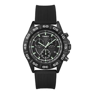Timex-Sports-Chronograph-IP-Black-Dial-Black-Rubber-Strap-Gents-Watch-50m-T2N886