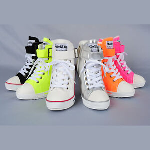 MAX-05-NEW-FASHION-SNEAKERS-PLATFORM-WEDGES-ZIP-UP-SHOES-FLOURESCENT-COLORS
