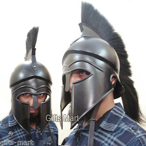 Greek Corinthian Helmet, Medieval Armour Helmet  + Leather Liner Display Stand