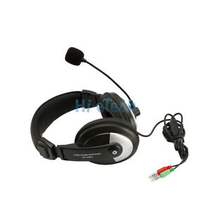Black Leather Pad Headphone w/Microphone Mic Headset PC Laptop Skype MSN UK