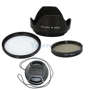 58mm CPL+UV Ultra Violet Filter+Lens Cap Cover+Hood for Canon 550D 600D T2i T3