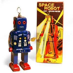 SPARKLING-ROBOT-Retro-Tin-Collectable-Ornament-Blue-TMS403B