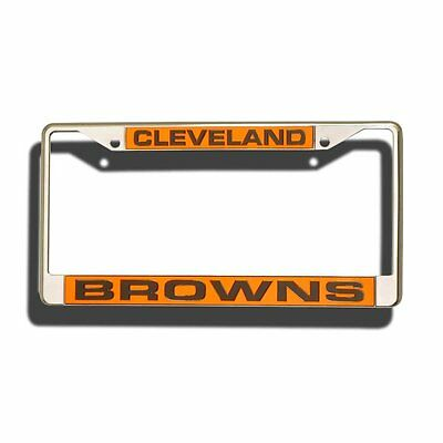 Cleveland Browns Car Laser Mirror Chrome License Plate Tag Frame Nfl Football