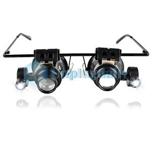 eye glass jeweler 20x magnifier magnifying led light loupe lens watch. Black Bedroom Furniture Sets. Home Design Ideas