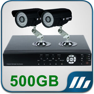 2 CCTV Cameras 4 Channel DVR System 500GB Hard Drive Complete Kit Plug&Play