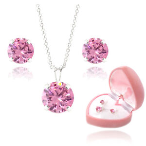 925 Silver Pink CZ Solitaire Pendant & Earrings Set + Gift Box