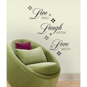new live well laugh often love much wall decals home stickers black room decor. Black Bedroom Furniture Sets. Home Design Ideas