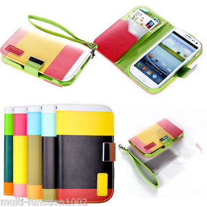 Samsung Galaxy S3 SIII i9300 Hybrid Leather Wallet Flip Pouch Case Stand Cover