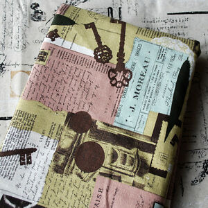 Retro-Cotton-Linen-Fabric-Vintage-Key-Newspaper-Typography-Postal-Stamps-Mail-FQ