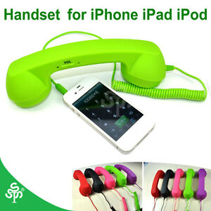earphones Green Mic Retro POP Phone Handset for iPhone 5 4 4G 4S iPad iPad 2