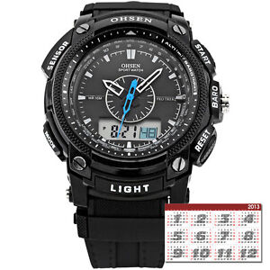 OHSEN Unisex Waterproof Digital LCD Alarm Date Mens Military Sport Rubber Watch