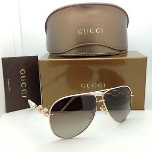 New GUCCI Sunglasses GG 4230/S 6DFJD White & Gold Frame w ...