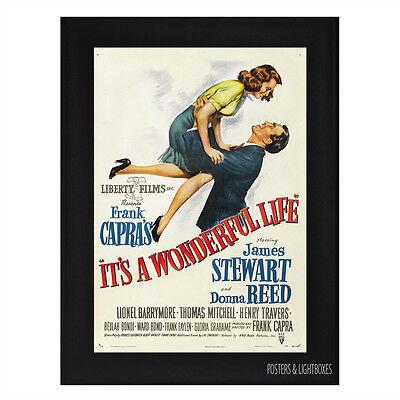 ITS A WONDERFUL LIFE Framed Film Movie Poster A4 Black Frame