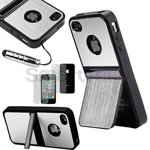 Silver-Aluminum-TPU-Hard-Case-Cover-W-Chrome-Stand-For-iPhone-4-4G-4S-Stylus-USA