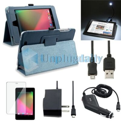 6 Items Blue Leather Stand Case+2 Chargers+Light+Film+Cable For Google Nexus 7 on Rummage