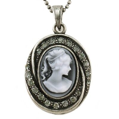 Classic Light Gray Cameo Pendant Necklace Antique Silver Tone Crystal Stones W2