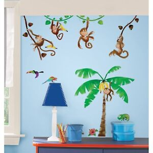 41 New MONKEY WALL DECALS Kids Bedoom & Baby Nursery Stickers Monkies Room Decor
