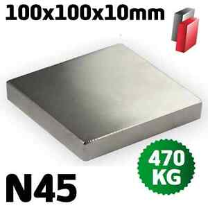 POWER NEODYM QUADER MAGNET 100x100x10 mm N45 QUADERMAGNET VERNICKELT SUPERMAGNET