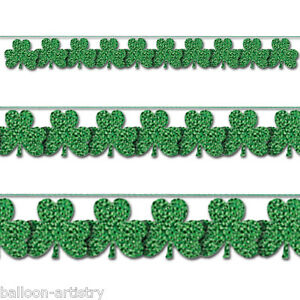 9ft St. Patrick's Day Green Prismatic Shamrock String Garland Decoration