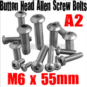 M6, A2 STAINLESS STEEL SOCKET BUTTON HEAD ALLEN SCREW BOLTS (FWS)