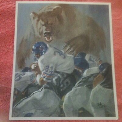 NFL Chicogo Bears 34 WALTER PAYTON  85 Playoffs Football Ticket Art, Very Rare!