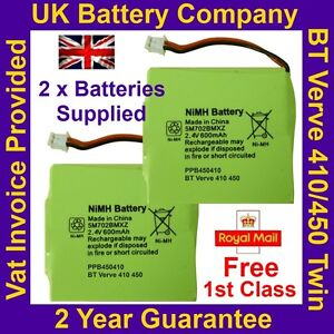 2 x New BT Verve 410 450 Twin Phone Batteries UK GP 5M702BMXZ 2.4V 600mAh NIMH
