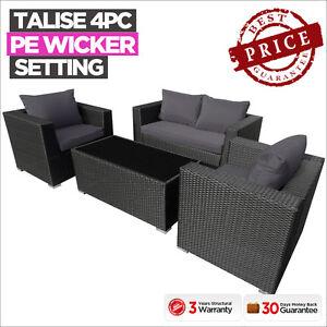 New-Luxo-4PC-Piece-Black-PE-Wicker-Outdoor-Sofa-Lounge-Furniture-Set-Setting