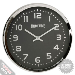Black And Chrome Clock Funky Wall Clock Large Ebay