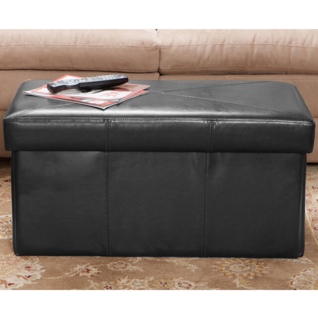 Collapsible Design Black Leather Folding Storage Ottoman Seat eBay
