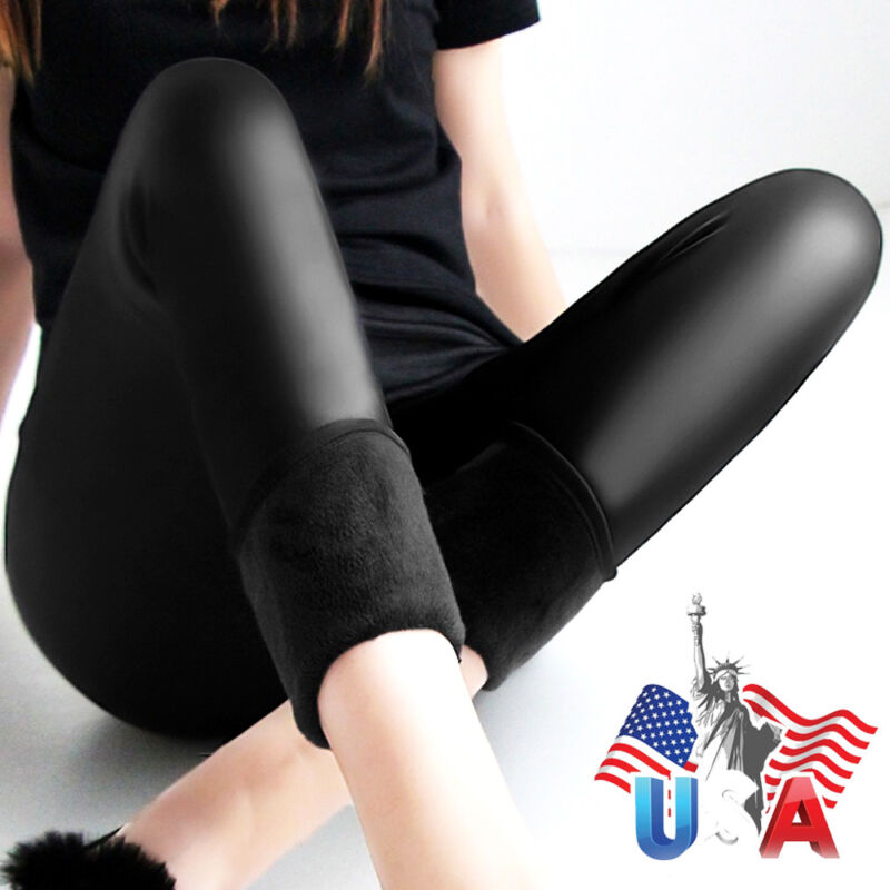 Women Leggings Winter Warm Pants Thick velvet Faux leather L
