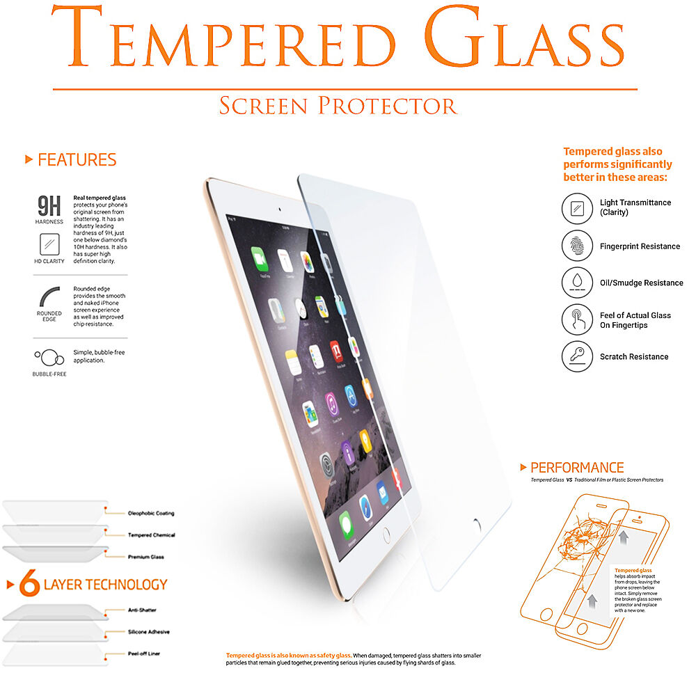 Купить Unbranded/Generic - Premium Tempered Glass Clear Screen Protector for Apple iPad Pro 9.7 Retina