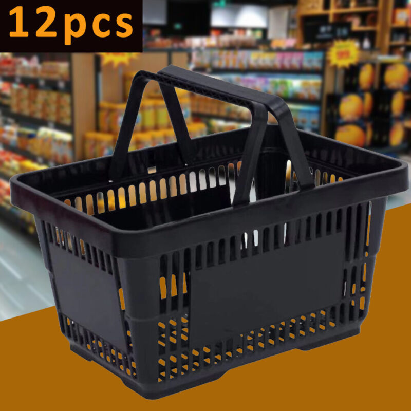 12Pc Handheld Shopping Baskets Shopping Totes Black Plastic Handles Design Black